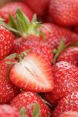 Red strawberries berries background — Stock Photo