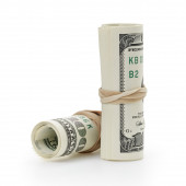 Rolled hundred dollar banknotes tied with rubberband — Stock Photo