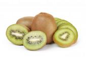 Ripe sliced kiwi fruit isolated on white — Stock Photo