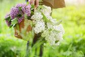 Female teen girl hold basket full of lilac flowers — Stock Photo