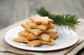 Star cookies on old table — Stock Photo
