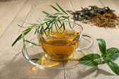 Mint tea in glass cup — Stock Photo