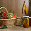 Domestic canned vegetables in jars — Stock Photo #70924155