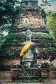 Pedestal of ancient Buddha sculpture in Ayutthaya city, Thailand — Stock Photo