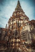 The old tower in the ruined ancient temple in Ayutthaya city, Thailand — Stock Photo