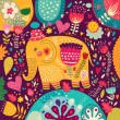 Beautiful elephant with colorful pattern — Stock Vector #57732785