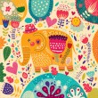 Beautiful elephant with colorful pattern — Stock Vector #57732975