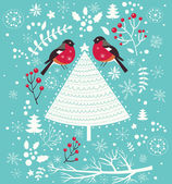 Christmas  greeting card with tits — Stock Vector