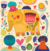 Beautiful elephant with colorful pattern — Vector de stock
