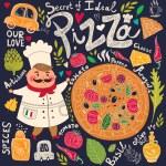 Pizza design menu with chef — Stock Vector #57786945