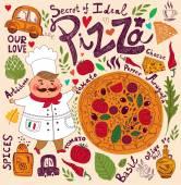 Pizza design menu with chef — Vettoriale Stock