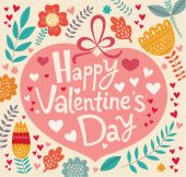 Valentine's Day floral greeting card — Stock Vector