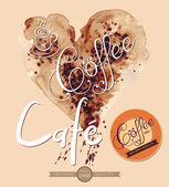 Heart drawn pour coffee — Stock Vector