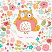 Cute owl and flowers — Stock Vector