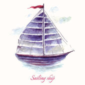 Hand drawn adorable  sailing ship — Stock Vector