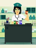 Doctor holding prescription bottle — Stock Vector