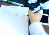 Business woman writing blank plan list — Stock Photo