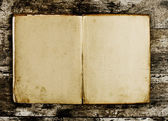 Open Book blank on old wood background — Stock Photo