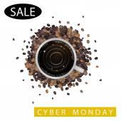 Une tasse de café avec mot de vente cyber lundi — Vecteur
