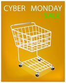 Shopping Cart on Cyber Monday Sale Promotion — Stock Vector