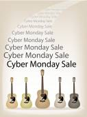 Beautiful Guitars Background of for Cyber Monday Sale — Vetorial Stock