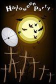 Satellite Dish Sending Evil Bats Flying Over The Cemetery — Stock Vector