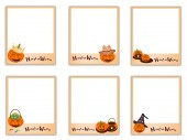 Set of Photos with Halloween Evil and Item — Stock Vector