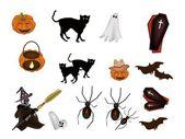 An illustration Set of Various Halloween Item — Stock Vector