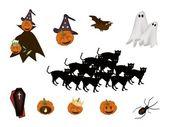 Conjunto de vários item halloween e monstro — Vetor de Stock