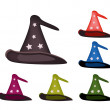 Various Colors of Lovely Witch Hat on White Background — Stock Vector #55287371