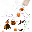 Various Halloween Item and Evil Falling From Paper Bag — Stock Vector #55561635