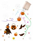 Various Halloween Item and Evil Falling From Paper Bag — Vettoriale Stock