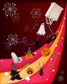 Various Halloween Item on Beautiful Halloween Background — Cтоковый вектор