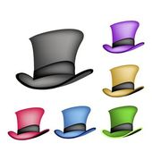 Colorful Victorian Style Top Hat on White Background  — Stock Vector