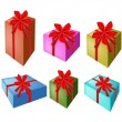 A Set of Beautiful Gift Boxes with Red Ribbon — Stock Vector #56670469
