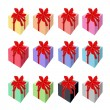 Set of Beautiful Gift Boxes with Red Ribbon — Stock Vector #57235303