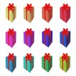 Set of Tall Gift Box with Red Ribbon — Stock Vector #57235581