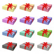 Set of Lovely Gift Box with Red Ribbon — Stock Vector #57235647