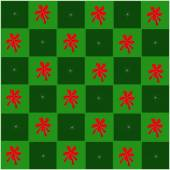 Czerwona kokarda w zielonej i ciemno zielony szachownicy — Wektor stockowy