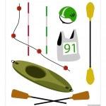 Set of Canoe or Kayak Equipment on White Background — Stock Vector #69227543