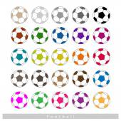 Set of Multi-colored Footballs or Soccer Balls — Stock Vector