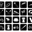 Постер, плакат: Collection of Sport Equipment Icons on White Background