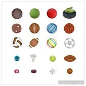 Collection of Sport Items on White Background — Stock Vector