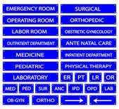 Set of Blue Hospital Sign and Medical Abbreviations — Vecteur
