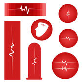 Set of Cardiogram on Red Banner — Stock Vector