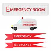 Ambulance with Emergency Banner on White Background — Stock Vector