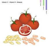 Tomatoes with Vitamin C and Vitamin A — ストックベクタ