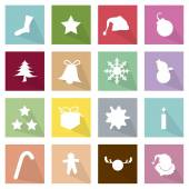 Illustration Set of 16 Merry Christmas Icons — Stock Vector