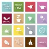 Illustration Set of 16 Spring Season Icon — Stock Vector