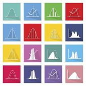 Collection of 16 Normal Distribution Curve Icons — Stock Vector